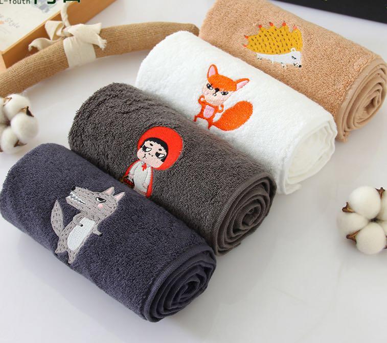 纯棉卡通洗脸面巾创意刺绣礼品毛巾定制